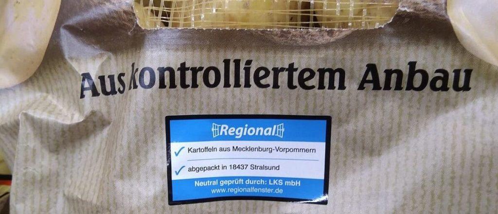 Regionalfenster auf Kartoffelsack