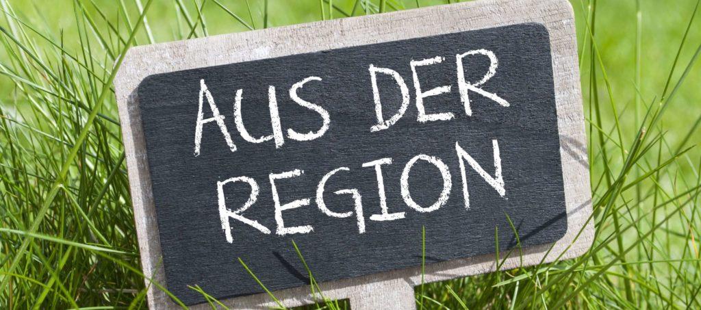 Lebensmittelsiegel - Schild: Aus der Regioin