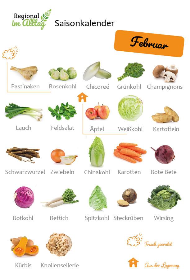 Saisonkalender Februar - Obst und Gemüse frisch geerntet oder aus Lagerung